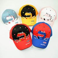 çocuklar hayvan beyzbol kapakları toptan satış-Çocuklar Dinozor Beyzbol Şapka Çocuk Beyzbol Net Kap Karikatür Hayvan Mektup Baskı Ayarlanabilir Kapaklar Açık nefes güneşlik Şapkalar