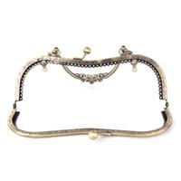 рама для мешков оптовых-DIY 20.5cm Vintage Elegant Women Purse Frame Clutch Bag Clasp With Handle Knurling Bronze Hardware Accessories High Quality