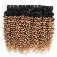 renk remi saç uzatma kıvırcık toptan satış-Brezilyalı Kıvırcık Saç Ombre Bal Sarışın Su Dalga Saç Demetleri Renk 1B / 27 10-24 inç 3/4 Parça 100% Remy İnsan Saç Uzantıları