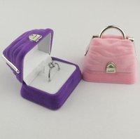 joyeros rosa morado al por mayor-Bolso de joyas Cajas Pendientes Collar Collar Cajas Terciopelo Caja de presentación Rosa Púrpura