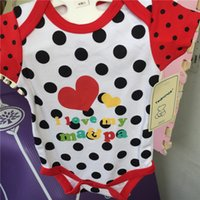 Wholesale i love rompers resale online - Summer Love Pink Baby Jumpsuits Onesies I Love Ma Pa Letters Printing Stripes Polkadot Designing Newborn Bodysuits Cotton Baby Rompers