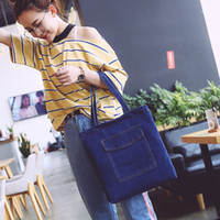 Wholesale cowboy shoulder bag for sale - Group buy 2019 New Women Bag Large Capacity Cowboy Handbag High Qualtity Wild Casual Canvas Denim Shoulder Bag Flap Shopping
