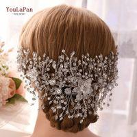 Wholesale stunning wedding hair resale online - YouLaPan HP286 stunning wedding hair vines rhinestone bridal hairpiece bling bling tiara beaded headdress women hair jewelry