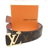 Wholesale dress belt buckles resale online - With box Fashion designer Letter printed belts for men women Big buckles L V G Business Jeans L uis Vuitt n Dress strap