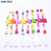 Wholesale pacifier necklaces resale online - MHS SUN Colorful Silicone Teether Baby Necklace BPA Free Cute Star Pacifier Clips Teething Nursing Dummy Chain For Kids