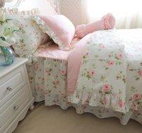 roupas de cama rosa e verde venda por atacado-Romantic Verde Rosa cor-de cama Set Meninas Meninos cama twin set completa Rainha Rei