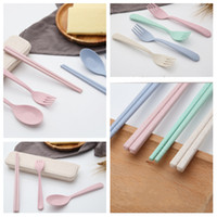 Wholesale children dinnerware sets for sale - Group buy new style set spoon fork chopsticks straw travel tableware mini lovely children Dinnerware Sets portable tableware boxT2I5159