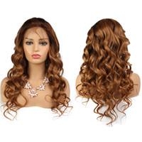 Wholesale wavy blonde hair online - 13X6 Deep Part Lace Wig Human Hair Wigs For Black Women Lace Front Wig Remy Honey Blonde Wavy Human Hair Wig
