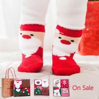 calcetines de bebé cajas al por mayor-calcetines de diseño para niños calcetines de invierno para bebés conjunto de caja de regalo de Navidad chaussettes de algodón medias de diseño unisex