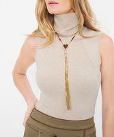 ювелирные изделия с золотым слоем оптовых-Long Tassel Pendant Necklace Antique Gold Color Layered Chain Acrylic  Red Necklace Women Costume Jewelry Gifts In Box