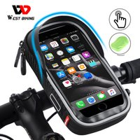 bisiklet tutma yeri telefon tutacağı toptan satış-WEST BIKING Waterproof Bike Bag Mobile Phone Holder Stand 6.0 Inch iPhone Bicycle Motorcycle Handlebar Rearview Mount Bag Case