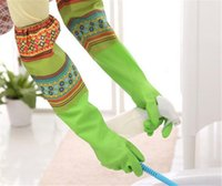 Wholesale waterproof dishwashing gloves resale online - New Housekeeping Kitchen Cleaning PVC Gloves Household Warm Durable Waterproof Dishwashing Glove Water Dust Cleaning