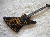 Wholesale unusual guitars resale online - Factory Custom Unusual Shape Black Electric Guitar with Gold Pattern Gold Hardware White Pearl Frets Inlay