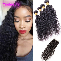 Wholesale 26 inch deep wavy hair for sale - Group buy Malaysian Virgin Hair Bundles With Lace Closure X4 Water Wave Natural Color g piece Wet And Wavy Human Hair Bundles With Closure