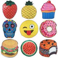 schädelmatte großhandel-Runde gedruckte Emoji Früchte Strandtücher Schädel Donut Hamberger Seaside Handtuch Schal BBQ Mats Beach Mat