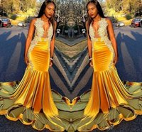 Wholesale yellow spring jacket for girls resale online – Yellow Velvet Mermaid Prom Dresses South African Sexy V Neck Appliques Beads Plus Size Formal Evening Gowns For Black Girl Vestidos De