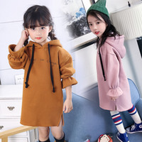 Wholesale fall girl clothes for sale - Group buy Fall Winter Girls Dress Thick Warm Kids Hoodies Dresses for Girls New Long Sleeve Solid Children Princess Clothing