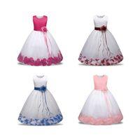 Wholesale puffy clothing online - Kids Sleeveless Flower Dress Baby Girl Designer Clothes Baby Toddler Princess Dress Petal Puffy Skirt Children Wear