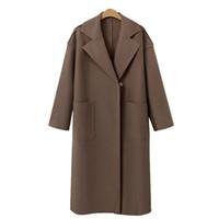 hochwertige damen wollmäntel großhandel-Hochwertige neue Damen Casual Blazer 2019 Casual Dress Wollmantel elegante Büro Damen Langarm langen Abschnitt S-XL