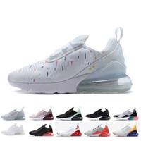 zapatos de cojines de aire al por mayor-Nike Air Max 270 AirMax 27c Novedades 2019 campeón francés 2 estrellas Negro Triple Blanco Mujeres Hombres Zapatillas Moda Atletismo de deporte Zapatillas de correr Talla 36-45