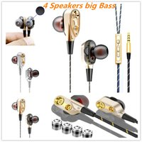 Wholesale gold silver mix design ring resale online - 2019 hotest machine design Four core double Ring headphones Big Bass sports in ear earphone for iphone samsung oppo huawei with opp bag