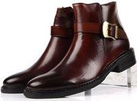 botas de moto tan al por mayor-Moda Tostado / Negro para hombre de las botas del tobillo del cuero auténtico botas de moto botas de hombre a hombre con la hebilla