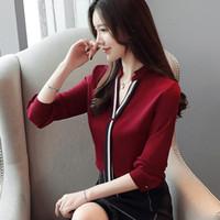 cuello de soporte superior largo al por mayor-Nuevas blusas de otoño para mujer Elegantes camisas de gasa OL Tallas grandes Tops Coreano Stand Collar Blusa de manga larga Z2033