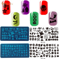Wholesale halloween nail art stamps resale online - 12Pcs Nail Art Stamping Plates Stainless Steel Template Manicure Stencil Design Halloween Print Nail Template Christmas Gift