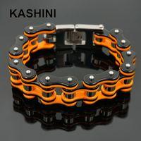 Wholesale steel bike chain bracelet resale online - Punk Orange Bicycle Bike Bracelets Bangles Motorcycle Chain Men s Black Bracelet Men Stainless Steel Biker Men Jewelry J190618