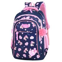 çanta kedi baskısı toptan satış-Çocuk Okul Çantaları Kız İlköğretim Okulu Sırt Çantaları Çocuklar Karikatür Kedi Baskı Sırt Çocuk Prenses Sırt Çantaları Kesesi Enfant