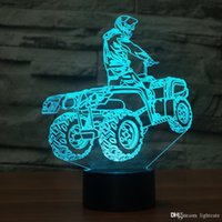 lâmpada transversal venda por atacado-LED criativa Cross-Country Motos Modeling Lamp Table Lamp LED Xmas presente 3D USB Home Decor 7 cores em mudança All Terrain Vehicle Noite