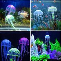 decorações do tanque de peixes das medusa venda por atacado-Swim Efeito Glowing Artificial Medusa Decoração Do Aquário Fish Tank Underwater Planta Viva Luminosa Ornamento Aquático Paisagem GB346