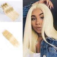 blonde erweiterungen preise großhandel-613 Blonde Bundles mit Schließung Brasilianische Haarwebart Bundles 8A Jungfrau-Haar-gerade Menschenhaarverlängerung Großhandelspreis Freies Verschiffen