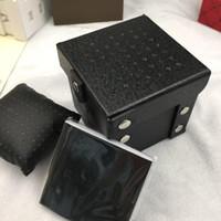 siyah kağıt kutusu toptan satış-Ücretsiz Kargo siyah deri Marka İzle Orijinal Kutusu Kağıtları Kart çanta Hediye Kutuları Çanta 120mm * 120mm * 120mm Için 7331 7314 dizelleri İzle Kutusu