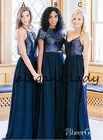 vestido largo azul marino juniors al por mayor-Dark Navy Sequins País Vestidos largos de dama de honor 2019 No emparejados Dos piezas de joya Bohemian Beach Junior Vestido de novia