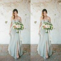 damas de honor vestidos sabio al por mayor-Sage Boho vestidos de dama de largo País Invitado de boda vestido de la gasa del hombro lateral abierto más el tamaño de vestidos de dama de honor