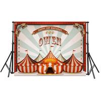 banners personalizados al por mayor-Personalizado Carnaval Telón de fondo Comunion Decoracion Circo Fiesta de cumpleaños Carpa Banner Baby Shower fondo Personalizar 7x5ft 210x150cm