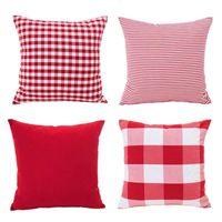 ingrosso divano bianco arredamento-Natale Rosso Bianco Cuscino Caso Cuscino Decorazioni di festa per divano Set di 4 (Plaid a scacchi, Stripe, Reticolo)