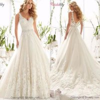 Wholesale wedding dress belts sashes navy resale online - Romantic Lace Appliqued Wedding Dresses A Line Tulle Lace Summer Beach Belt Wedding Bridal Gowns with Overskirts BM1528