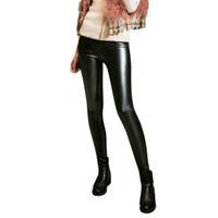 leggings negros hasta los tobillos al por mayor-Pantalones de cintura alta de cuero de PU Pantalones de poliéster de invierno Velvet Ankle LENGTH Black Leggings gruesos para mujeres