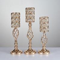 accesorios de escenario de oro al por mayor-2020 accesorios de boda candelabros oro metel plateado florero ware etapa fondo creativo hogar muebles europeos decoraciones de boda