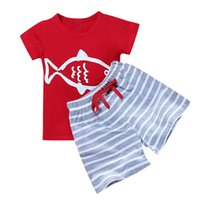 полосатые шорты верхний набор оптовых-2019 NEW FASHION STYLE Toddler Kids Baby Boys Short Sleeve Cartoon Striped T shirt Tops 2PCS Pants Set 5.28