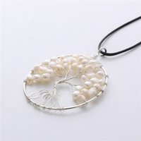 Wholesale natural pearl shell pendant for sale - Group buy Charm life tree pendant necklace natural shell pearl leather wax rope chain ladies fashion jewelry with leather chain