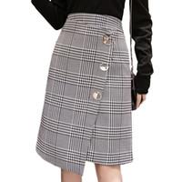 falda de lana coreana al por mayor-Falda a cuadros asimétrica de cintura alta de las mujeres botón de la moda coreana delgado elegante falda de lana damas elegantes faldas