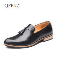 ingrosso vestito classico degli uomini-QFFAZ Fashion Business Men Shoes 2019 New Classic Pelle Uomo Abiti Scarpe Moda Slip On Dress Uomo Oxfords