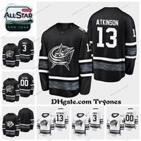 juegos de cam al por mayor-2019 All Star Game 13 Cam Atkinson Columbus Blue Chaquetas cosidas para hombre Negro Blanco Personalizar 3 camisetas de hockey Seth Jones