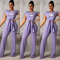 ingrosso pantaloni lunghi sciolti-2019 Champions Tute Summer Women Crop Bow Tie T-Shirts + Gamba ampia pantaloni lunghi sciolti 2 pezzi Abiti Fashion Sports Party Club Wear A3137