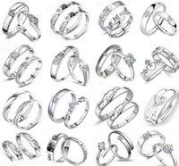 925 sterling silber ringe kreuzen großhandel-Engagement / Hochzeit 925 Sterling Silber Ring Herz Frauen Schmuck Kreuz Herren Paar Ringe MOQ 30 Stck