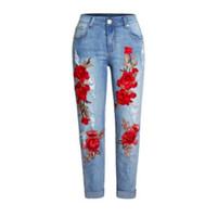 denim estampado de flores al por mayor-2019 Mujeres Jeans Jeans Loose Bordado 3D Ripped Denim Pantalones Flor de impresión Agujero Denim Pantalones de longitud completa Pantalones S / 3Xl K1010