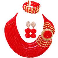 venta de cuentas africanas al por mayor-En rebajas Red African Style Crystal Beads Party collar aretes pulsera conjuntos para damas 10C-DPH-24